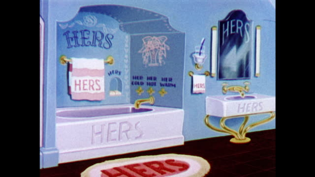 vídeos de stock, filmes e b-roll de a female dominated bathroom - domestic bathroom