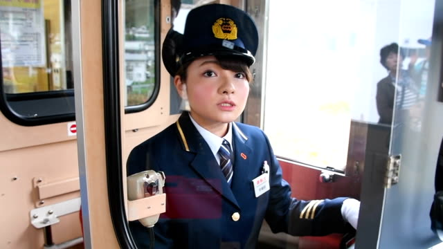 female driver has made her debut for a local railway company that suffered damage in the march 2011 great east japan earthquake and tsunami, hoping... - 再建する点の映像素材/bロール