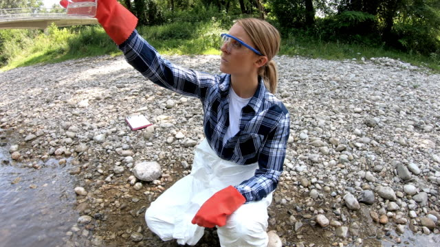 a female ecologist analyzes the state of water in a forest river - biologist stock videos & royalty-free footage