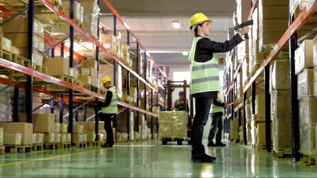 vídeos de stock e filmes b-roll de mulher trabalhador em armazém, caixas de exame - capacete