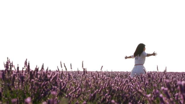 Female enjoy lavender field in Provence, France