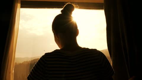 female enjoying a beautiful morning. - morning stock videos & royalty-free footage