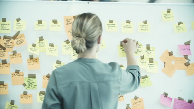 female executive brainstorming with sticky notes - ideas stock videos & royalty-free footage