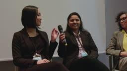 Female expert panel in auditorium during seminar