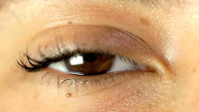 weibliche auge close-up - braune augen stock-videos und b-roll-filmmaterial