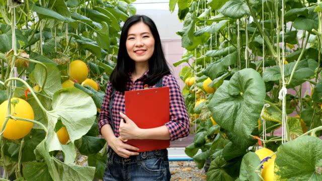 vídeos de stock, filmes e b-roll de fazendeiro fêmea que examina e que escreve para baixo a nota dentro do campo do jardim do melão. - note pad
