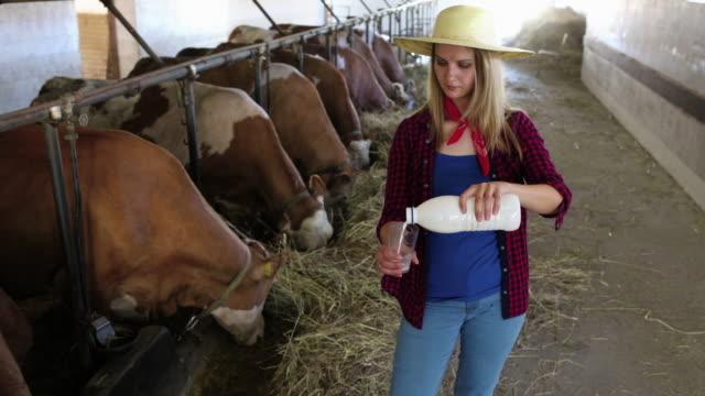 female farmer on the farm - female animal stock videos & royalty-free footage