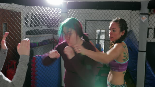 mma female fighters sparring - darlington north east england stock videos & royalty-free footage