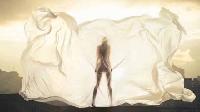 female figure behind a sheet - bedclothes stock videos & royalty-free footage