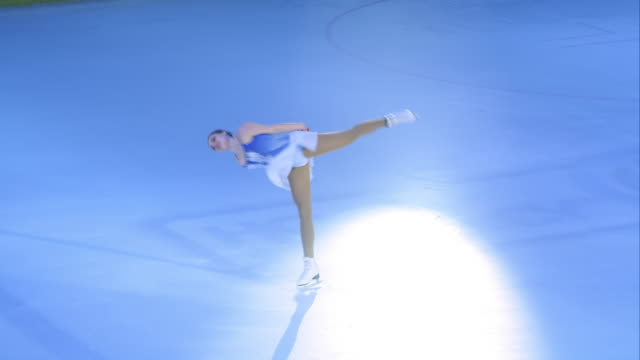 ts female figure skater doing spins - winter sport stock videos and b-roll footage