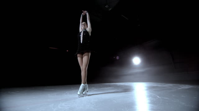 SLO MO DS Female figure skater in a scratch spin