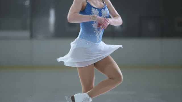 slo mo td female figure skater performing a scratch spin - ice skating stock videos and b-roll footage
