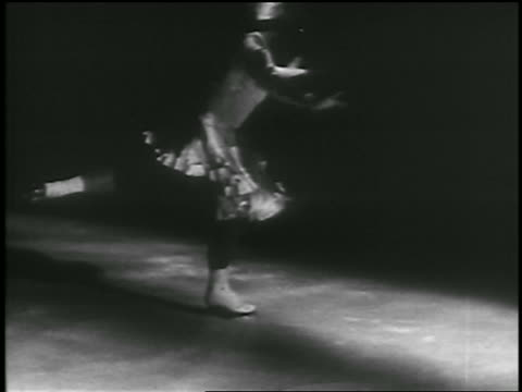 b/w 1935 female figure skater spinning jumping landing on one foot / canada - 1935 stock videos & royalty-free footage
