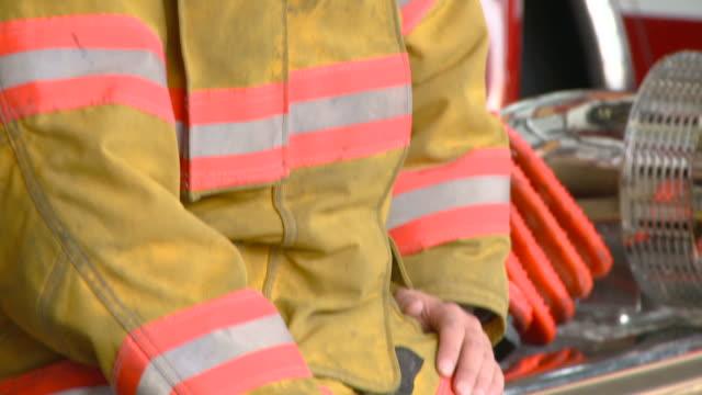 CU TU PORTRAIT Female fire fighter in uniform/ Richmond, Virginia