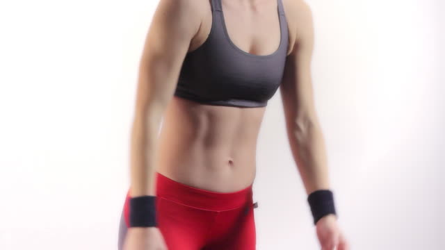 female fitness - abdominal muscle stock videos & royalty-free footage