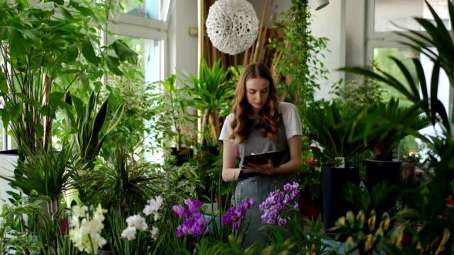 花を調べる女性の花屋 - 園芸学点の映像素材/bロール