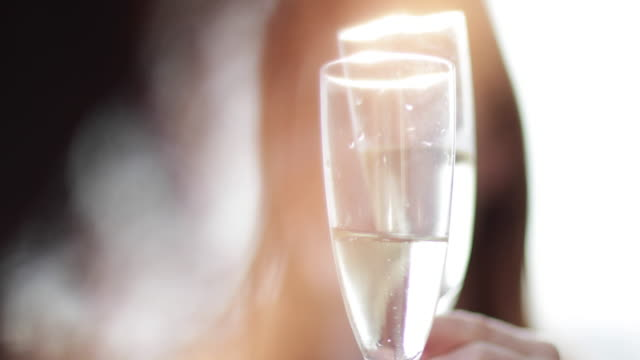 female friends enjoying a glass of champagne outdoors in sunshine - celebratory toast stock videos & royalty-free footage