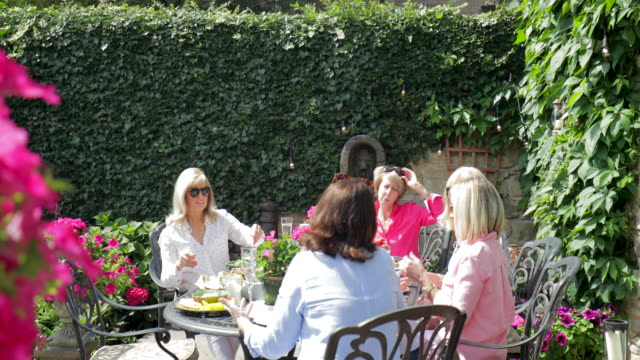 female friends gather for lunch - afternoon tea stock videos & royalty-free footage