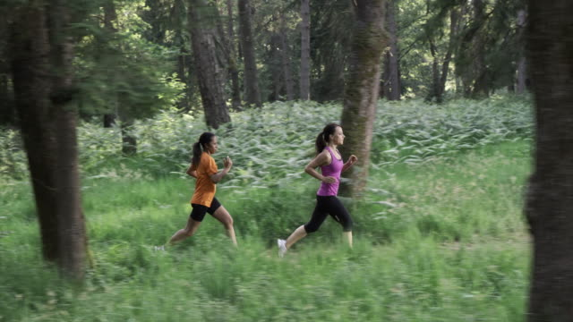 SLO MO DS Female friends running on a forest trail