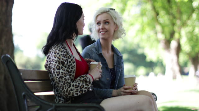 female friends sitting on bench with takeout coffee in the park - fare una pausa video stock e b–roll
