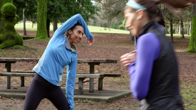 ms female friends stretching near trail in park before morning run - hair accessory stock videos and b-roll footage