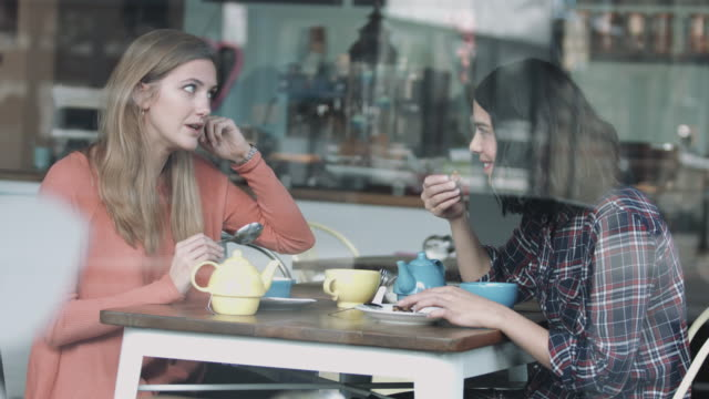 female friends talking in coffee shop - lunch stock videos & royalty-free footage