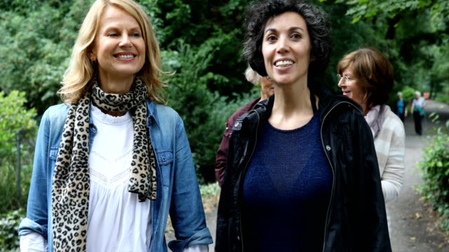 female friends talking while hiking in woodland - quarantenne video stock e b–roll