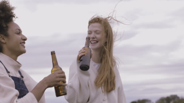 female friends together celebrating with beer sitting on farm gate wearing sweaters in windy autumn with moody sky - beer bottle stock videos & royalty-free footage