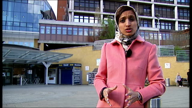 first charges brought london reporter to camera outside the whittington hospital where a doctor is amongst the first accused of carrying out female... - 被告人点の映像素材/bロール