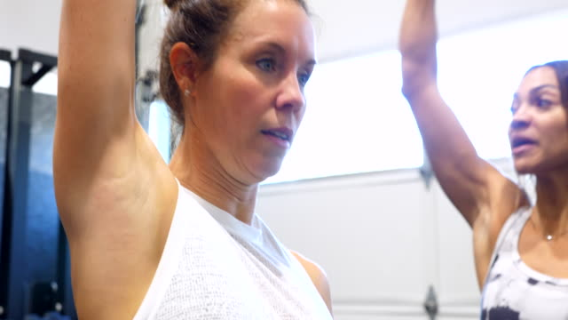vidéos et rushes de ms female gym owner and client demonstrating dumbbell presses for fitness class - agilité entreprise
