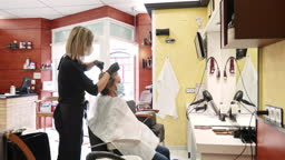 Female Hairdresser Coloring Hair in Time of COVID-19