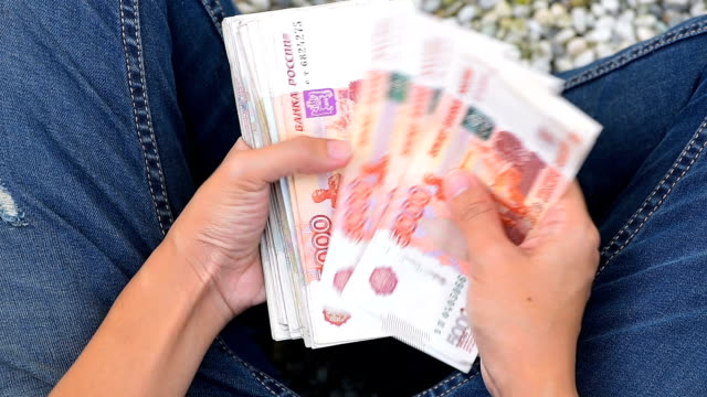 female hand counting russia ruble money - russian culture stock videos & royalty-free footage