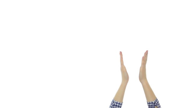 Female hands applauding on white background.