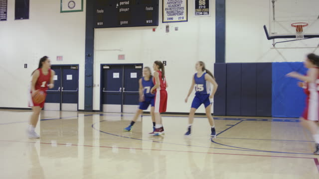 female high school basketball players competing in a game - adolescence stock videos and b-roll footage