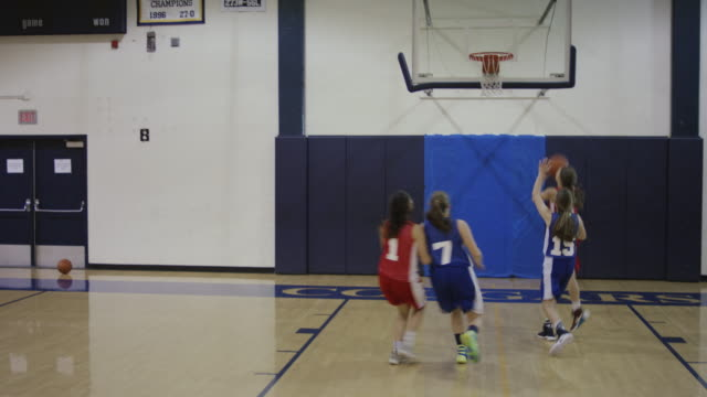 Female high school basketball players competing in a game
