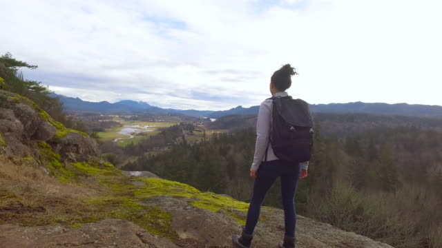 female hiker celebrating reaching the top of a hike - fatcamera stock videos & royalty-free footage