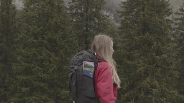 kvinnlig vandrare i rött som går genom en skogsglan - endast unga kvinnor bildbanksvideor och videomaterial från bakom kulisserna