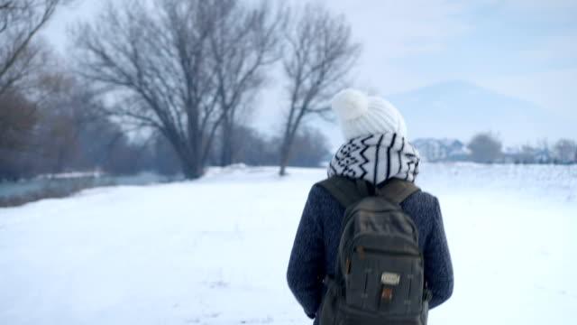 vídeos y material grabado en eventos de stock de excursionista femenina en paseo de invierno - espalda humana