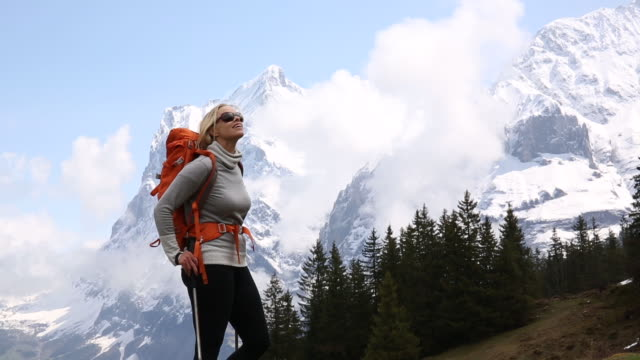 female hiker pauses while walking below snow capped mountains - pine tree stock videos & royalty-free footage