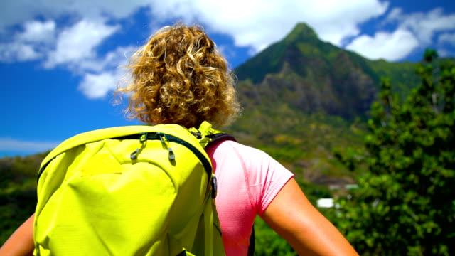 female hiker rainforest volcanic island hiva oa marquesas - polynesian ethnicity stock videos & royalty-free footage