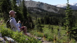 Female hiker relaxes beside trail, in mountains