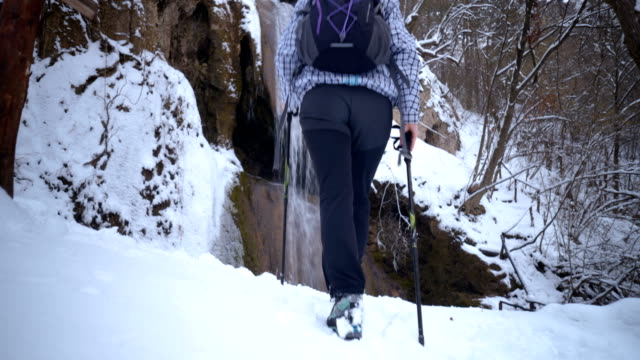 stockvideo's en b-roll-footage met vrouwelijke wandelaar wandelen in de buurt van de waterval - menselijke rug