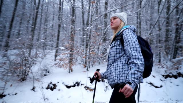 vídeos y material grabado en eventos de stock de hiker mujer caminando por un camino por el bosque nevado - sólo mujeres jóvenes