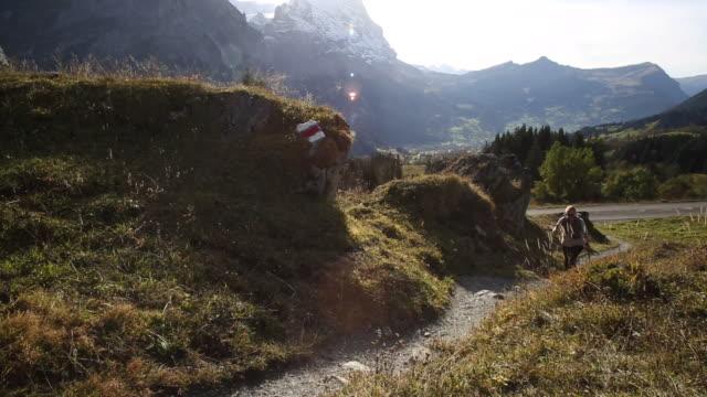 female hiker walks up pathway through mountain meadow - eskapismus stock-videos und b-roll-filmmaterial