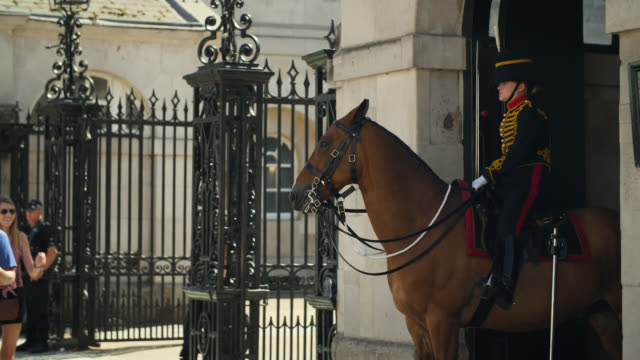 female horse guard on duty in london - british military stock videos & royalty-free footage