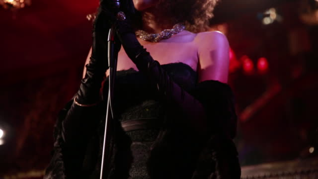 female jazz singer in nightclub. - formal glove stock videos and b-roll footage