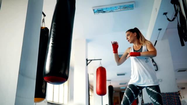 female kick-boxer training - kickboxing stock videos & royalty-free footage