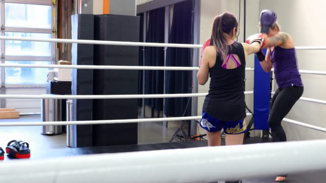 ms female kickboxers training together in ring in gym - 女子ボクシング点の映像素材/bロール