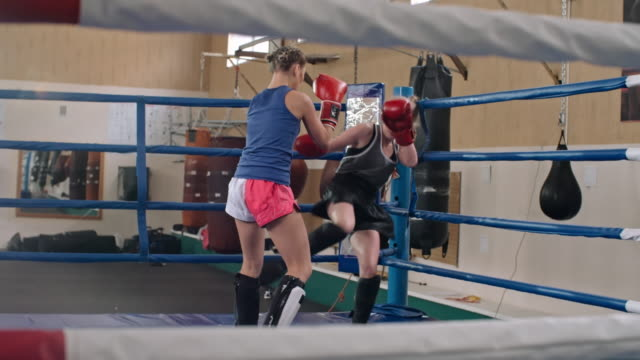 female kickboxing in the ring - boxing women's stock videos & royalty-free footage