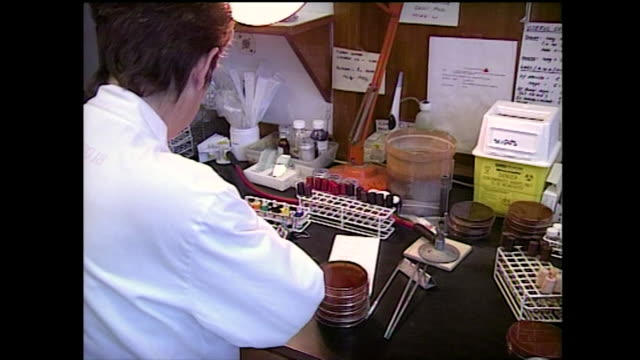female lab worker writes on sample petri dish; 1994 - microbiology stock videos & royalty-free footage